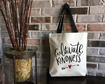 Cultivate Kindness Tote Bag - Kindness Matters - Kindness is Everything - Be Kind - Reusable Grocery Bag - Market Bag Tote - Large Tote Bag