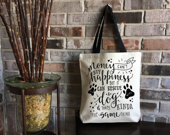 Dog Lover Gift - New Puppy Gift - Dog Tote Bag - Canvas Tote Bag - Animal Rescue - Pet Adoption - Dog Mom - Dog Rescue - Mother's Day Gift