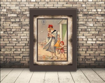 High Resolution from a Vintage Travel Poster of a Mom and Her Kids in Belgium, Europe. Wall Art or Home Decor for Traveler who loves Beach