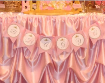 Pink happy birthday banner,Princess theme banner,pink and gold banner,Handmade Happy Birthday Banner with Name