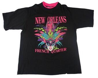 Vintage 1990s New Orleans Mardi Gras Tee - French Quarter New Orleans Tshirt 90s Vintage - XL