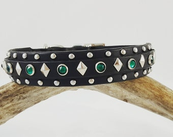 The Artemis Dog Collar - Handmade Double Layer Leather Dog Buckle Collar with Swarovski Crystals