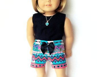 American Doll Clothes - 18 inch Doll Clothes – Print Shorts, Aztec, Multi-color, Turquoise, Black, Tribal, Summer