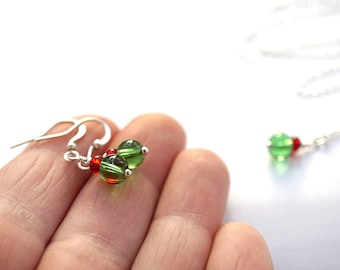 Gift For Her Womens Petite Red and Green Glass Earrings Tiny Wire Wrapped Sterling Silver Drop Holiday Fashion small everyday jewelry