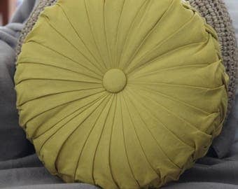 ONE ONLY - Mustard Yellow Linen Vintage Style Round Cushion
