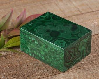 2.4 Inch MALACHITE Jewelry Box with Lid from Congo, Africa - AA Quality Malachite Box Jewelry Holder, Jewelry Organizer, Ring Dish 33866