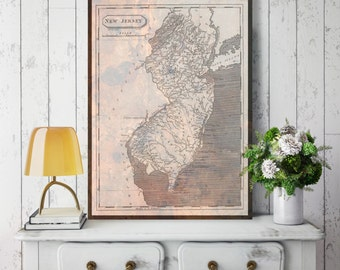 New Jersey Map Etsy - Newjerseymap