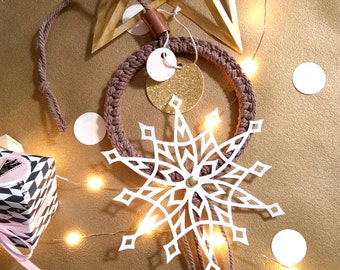 Suspension wall-Decoration-macrame-star white-paper cut out hand-weaving modern decoration gift