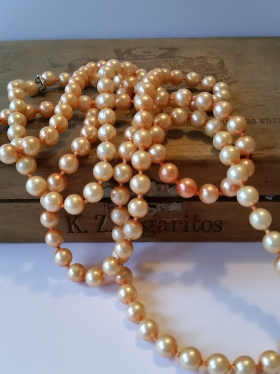 "Vintage 1920's Flapper Necklace | Extra Long 54"" Faux Pearls - Dyed Peach 