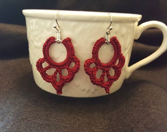 Crochet Earrings - Red : Small