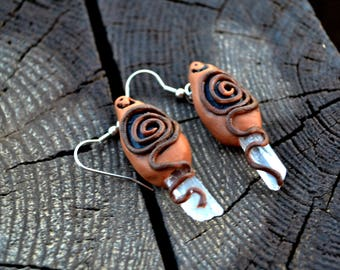Handmade Clay Clear Quartz Earrings SHIPPING INCLUDED