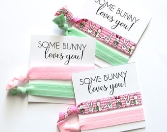 Easter Hair Ties | Some Bunny Loves You Elastic Hair Ties | Easter Gift | Easter Favor | Easter Basket Gift | Bunny Hair Ties | Bunny Shower