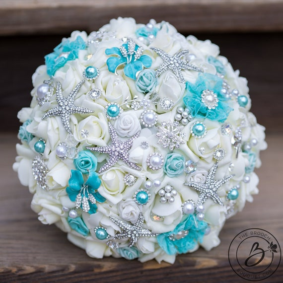 Turquoise brooch bouquet, Teal brooch bouquet, spa aqua brooch bridal bouquet, brooch wedding bouquet, jeweled bouquet roses and brooches