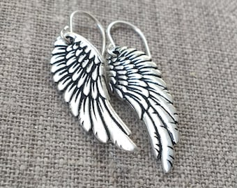 Silver wing earrings / Vintage style silver plated wings / Silver angel wings / Silver bird wings