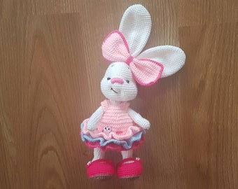 Birthday gift for girl Rabbit Collectible toy Easter bunny decor Easter decoration Easter toy Stuffed bunny Crochet bunny plush Bunny artist