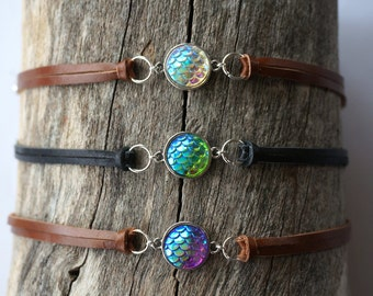 Mermaid Choker Necklace - Dragon Scale Necklace - Leather Mermaid Scale Necklace - Mermaid Jewelry - Mermaid Gift - Ocean Godess Jewelry