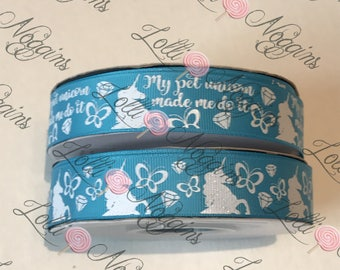 "My Pet Unicorns Made Me Do It   Unicorns, Butterflies, Diamonds   blue   USDR 7/8"" ribbon   Coordinated grosgrain  for bows and crafts"