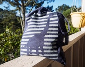 Nautical Dinosaur hand-printed canvas tote bag