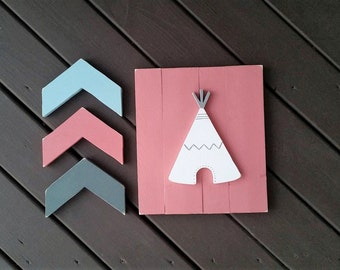 Nursery Woodland Set, Tribal Nursery Set, Chevron Arrows, Nursery Decor, Nursery Wall Decor, Nursery Wood Signs, Signs, Wood Signs, Decor