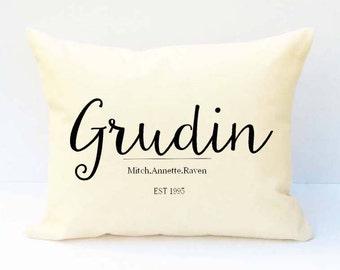 Last Name Pillow, Family Name Pillow, Custom Wedding Pillow, Custom Name Pillow, Pillow