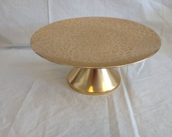 Kensington Moire Gold Metal Cake Stand 1950s
