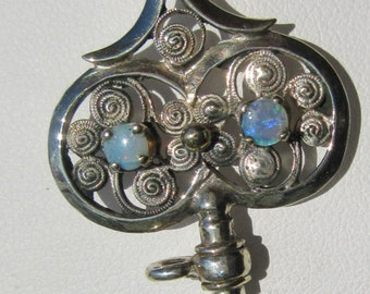 Silver Opal Key Pendant with Chain, Vintage-Inspired Key Pendant, Opal Key Pendant, Key Pendant, Key Jewelry, Silver Key Pendant, Silver