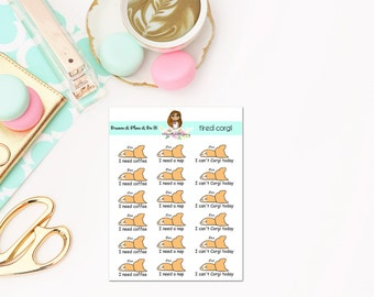 Tired Corgi planner stickers