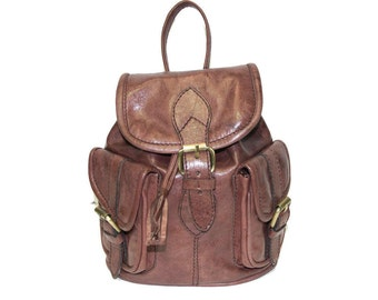 80's Style Mini Rucksack Backpack | Stressed Brown Gloss Leather