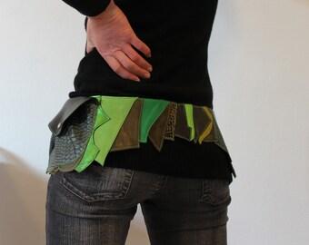 Green leather POCKET BELT
