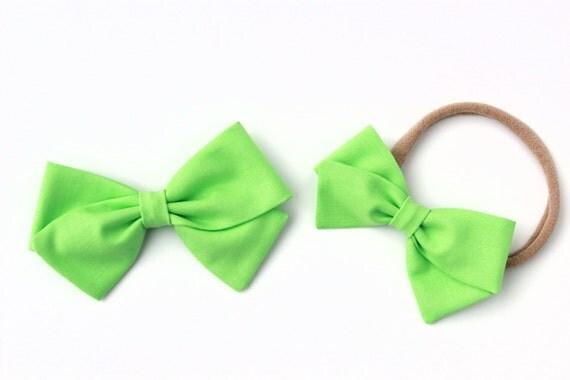 Lime green bow, toddler, baby girl, fabric bow, nylon headband or clip, newborn,