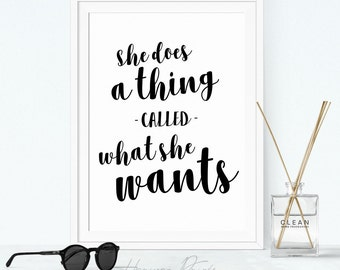 She Does a Thing Called What She Wants - Modern, feminine and minimalistic wall art, perfect gift for her