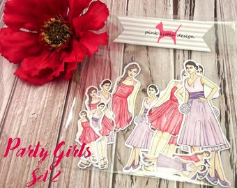 Party Girls Stickers Set 2 - Handillustrated - Watercolor - Stickers for Planners