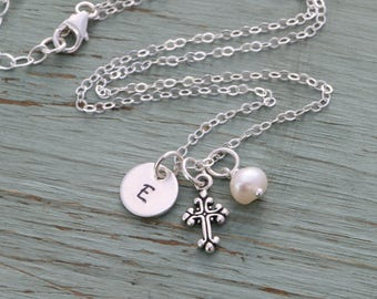 Cross Necklace Jewelry Confirmation Gift Cross Jewelry • Sterling Silver Cross Charm Necklace Religious Gift Baptism Christian