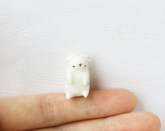 Porcelain Sleepy Lamb Totem - Ceramic Lamb Figurine, Animal Totem, Animal Figurine, Terrarium Figurine, Miniature Animal, Farm Animal