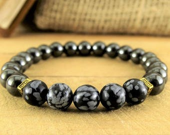 Gift For Men Bracelet Mens Beaded Bracelet Mens Gift Hematite Bracelet Mens Jewelry Black Jewelry Him bracelet Mens stretch braselets black