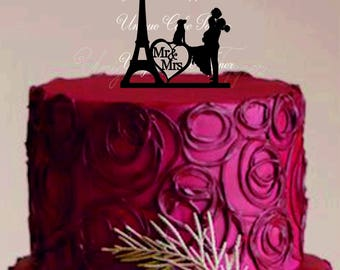 Wedding Cake Topper Personalized Eiffel Tower Paris Silhouette - Bride and Groom Wedding Cake Topper - Custom Wedding Cake Topper