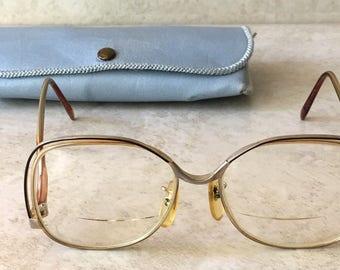 Vintage 70's 80's KYLE Eyeglasses Glasses Frames Gold Brown Metal Plastic- Japan
