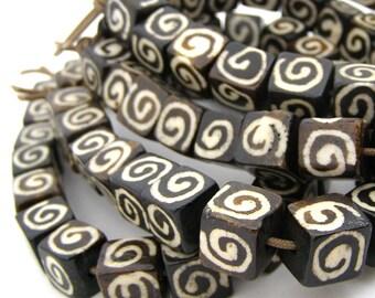 20 Batik Square Swirl Bone Beads - 10mm Ox bone - 2mm hole