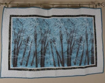 Handmade Blue and Brown Winter Woods Quilt | Wallhanging | Coffee Table Cover