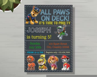 Personalized Paw Patrol Birthday Party Invitations, Birthday Invitation Template, Paw Patrol Birthday for Boy or Girl, Any Age