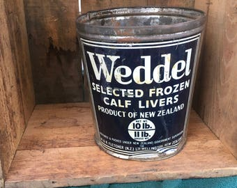 Weddel Frozen Calf Livers Tin Can Food Product New Zealand Vintage