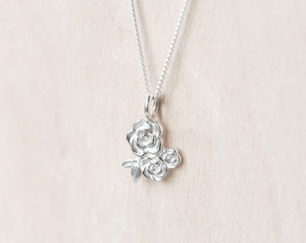 Sterling Silver Floral Cluster Rose Pendant with Chain
