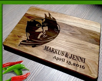Personalized Cutting Board / Wedding Gift Cutting Board / batman wedding gift / Bride and Groom / batman cutting board / batman wedding