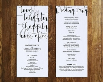 Happily Ever After Program Template, Printable Wedding Program, Editable, Calligraphy, Fairytale, Instant Download, PDF, PPS08