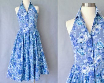 vintage cotton blue floral sleeveless dress size S/M