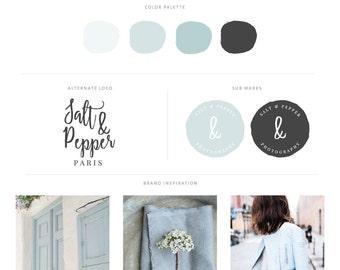 Watercolor Logo Design - Blue & Grey Branding kit - Restaurant Logo - Watermark - Food Blogger Logo - Boutique Logo - Beauty Logo - Spa Logo