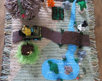Safari Play Mat with 9 animals and 4 accessories - Crochet OOAK