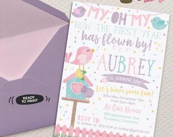 Cute Little Bird Birthday invitation Birdie Garden birthday invitation watercolors printable invite