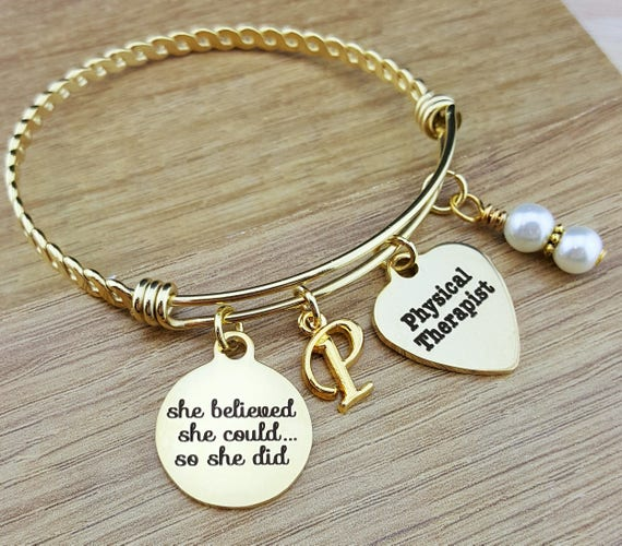 Gold Physical Therapist Gifts Physical Therapy Gifts College Graduation Gift Graduation Gift Senior Gifts Senior 2017 She Believed She Could