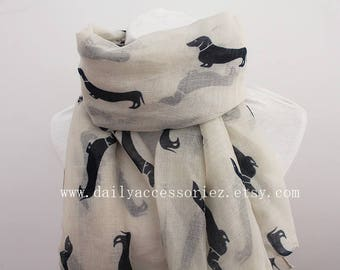 dachshund scarf, dog scarf, sausage dog scarf, animal scarf, scarf shawl, Spring Scarf, Summer Scarf, Gift, For her, For Women, off white